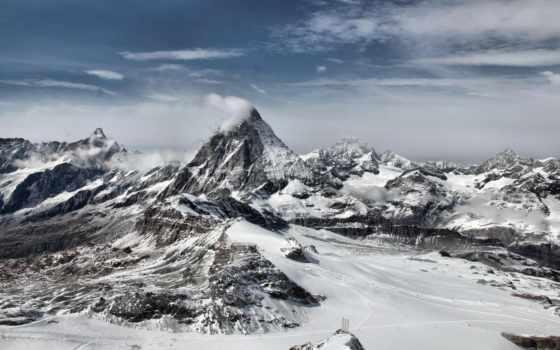 горы, winter, красивые, снег, прислал, oblaka, дата, просмотров, рейтинг, кб, монитора,
