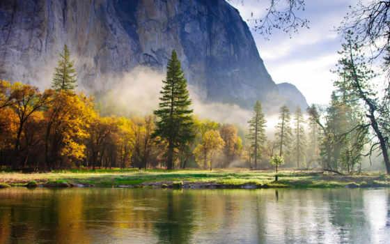 берегу, reki, лес, озеро, разрешениях, разных, горы, fone, тумане, деревьев, закат,
