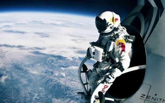 прыжок, red, bull, стратосферы, stratos, феликс, cosmos, баумгартнер, полет,