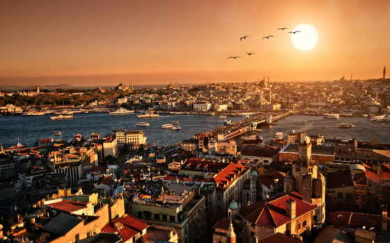 мост, galata, город, закат, istanbul, туры, стамбуле, вечер, turkey,