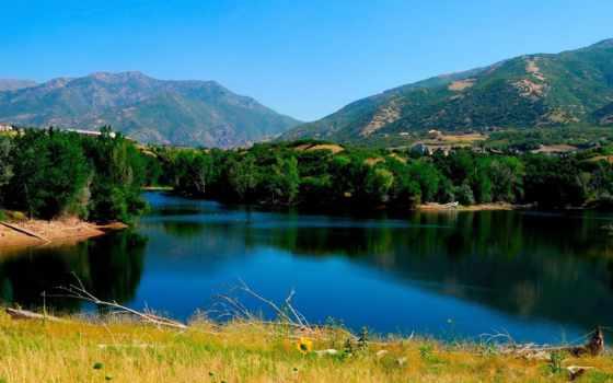 природа, горы, пейзажи -, красивые, похожие, trees,