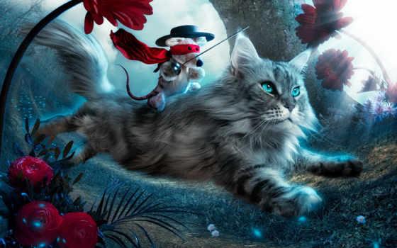 цветы, кот, toy, котенок, fly, zhivotnye,