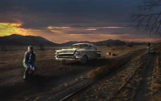 девушка, машина, дорога, пустош,