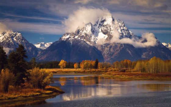 титон, гранд, park, national, wyoming, сша, state, горы, trees, озеро,
