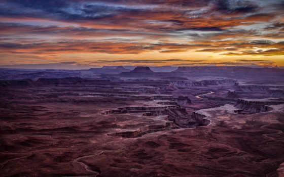 park, canyonlands, national, закат, небо, остров, utah,