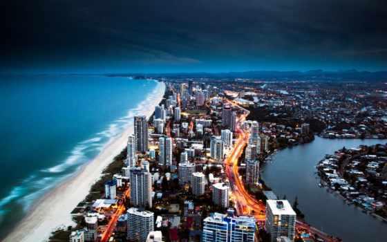 побережье, золотистый, gold, город, города, кост, недвижимость, австралия,