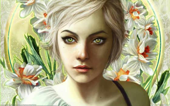 вышивки, схема, рисунки, девушка, автора, уксус, fantasy, цветов, devushki, красивые, header,