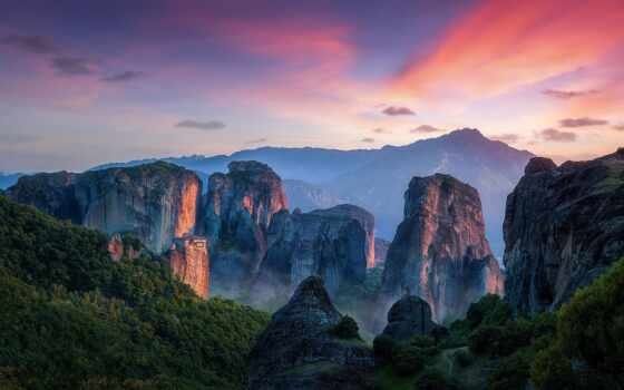 краска, meteora, foto, greece, getty, editorial, bild, фото, панорама, гора
