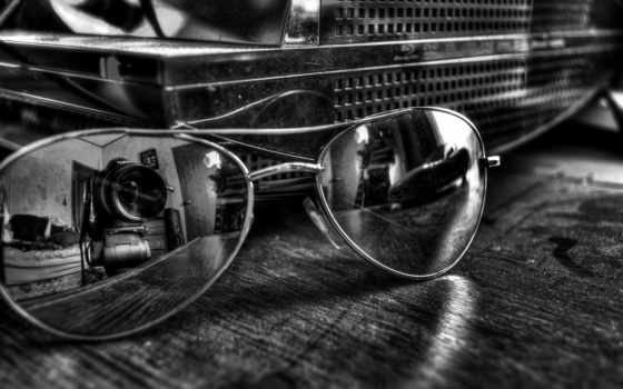 sunglasses, камера, очки, чёрнобелый, отражение, объектив,