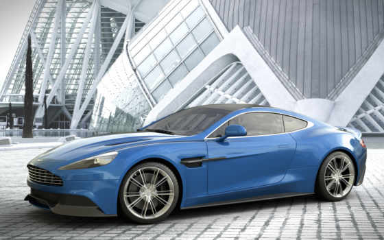 aston, martin, vanquish, blue, автомобили, profile,