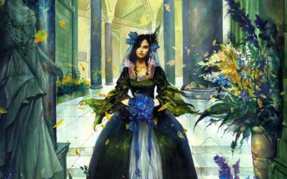 цветы, девушка, рисунок, бант, лепестки, листья,