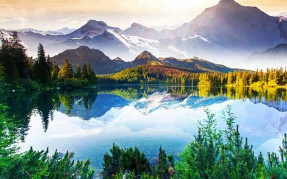 горы, природа, озеро, красиво, android, лес, небо, рыбалка, разделе,