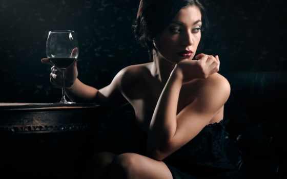 девушка, glass, вина, мечты, макияж, вино,