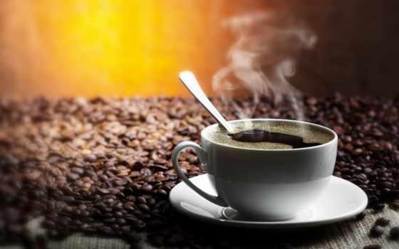 coffee, cup, зерна, блюдце, напиток, чашки, дым,