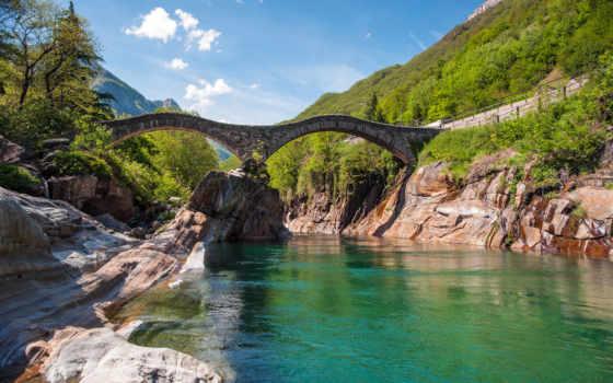 мост, река, скалы, landscape, птичий, ворошить, швейцарии, ponte, пейзажи -, ответы,