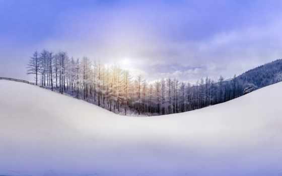 winter, hill, снег