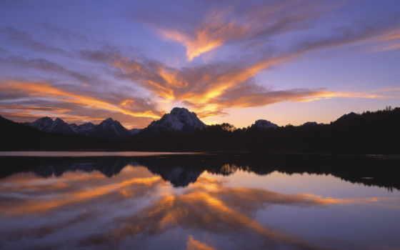 небо, горы, природа, desktop, озеро, закат, favourite, oblaka,