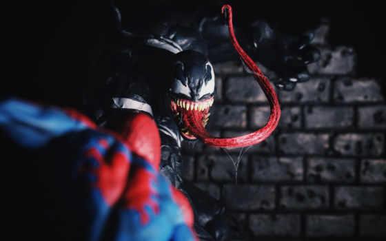 venom, паук, мужчина, spiderman, marvel,
