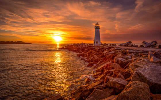 lighthouse, free, iframe, природа, восход, свет, санта