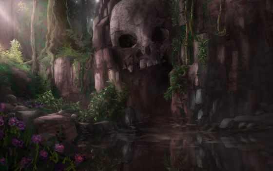 art, skull, cave