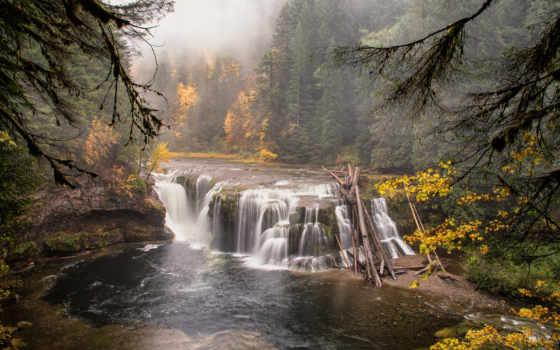 landscape, природа, водопад, лес, река, осень, картинка,