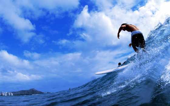 парень, море, сёрфинг