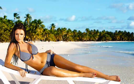 девушка, пляже, купальнике