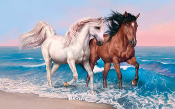 running, wild, лошадь, пляж, horses, шелк, плакат, white, art, живопись, animal,