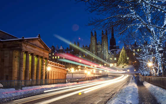 эдинбург, шотландия, город, ук, stock, ночь, огни, улица, дорога, desktop,