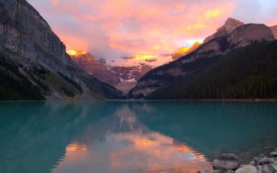 озеро, закат, разные, природа, снег, горы, фона, com, качество,