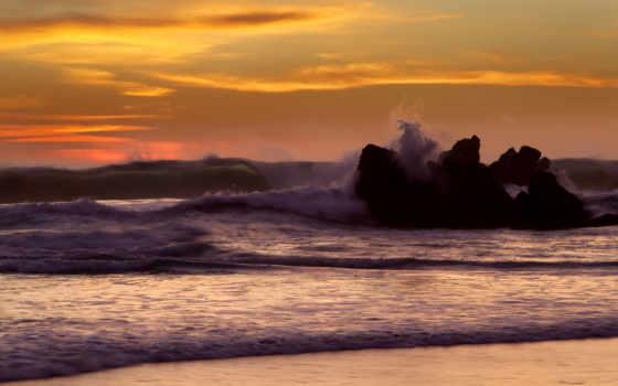 природа, waves, море, ocean, закаты, картинка, пейзажи -, рассветы, rock,