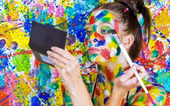 kobieta, farby, tapety, komórkę, pulpit, tapeta, ladykotka, kot,