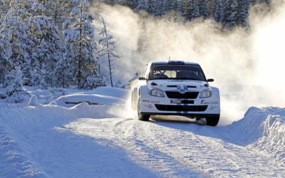 rally, skoda, fabia, снег, wrc, winter, день, car, поворот, desktop,