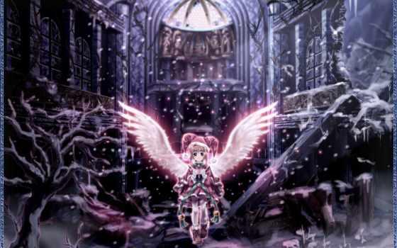 anime, Сакура, девушка, angel, amino, winter, card, captor, развалины, дерево,
