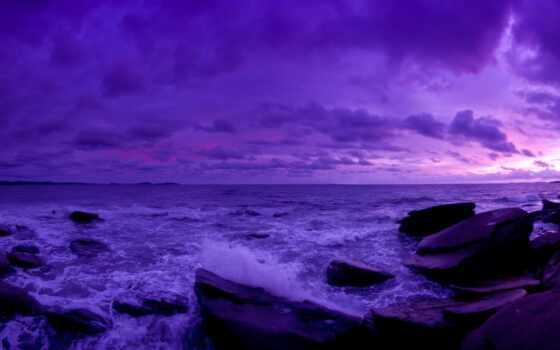 purple, закат, небо, dark