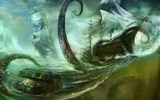 осьминог, сундук, корабль, шторм, океан,