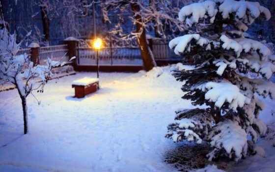 снег, winter, лампа