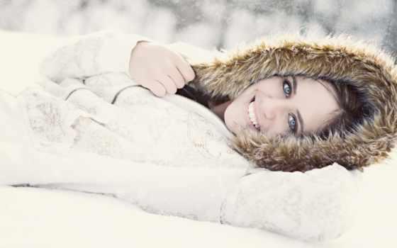 девушки, девушка, снегу