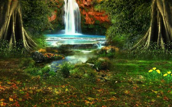 природа, цветы, landscape, водопад, растительность, деревя,
