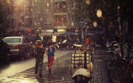 дождь, улица, листва, душ, children, дома, мужчина, крылья, асфальт, halo, девушка,