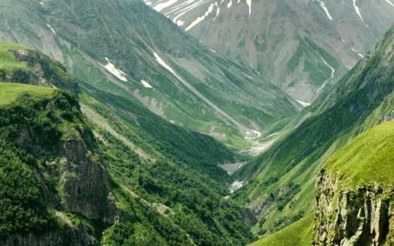 горы, склон, trees, лес, height, долина, mountains, природа, небо,