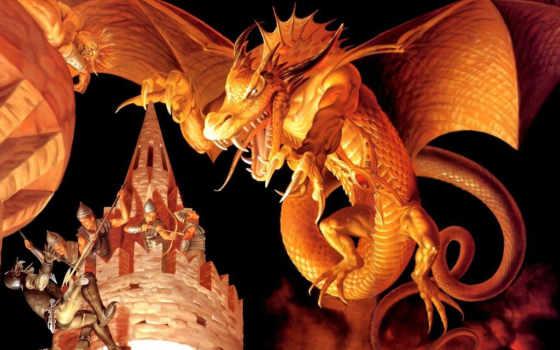 дракон, огонь, большой, fantasy, нападает, red, драконы,