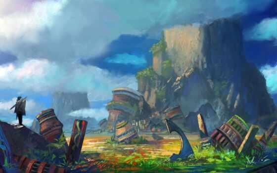 art, world, сказочный, облако, гора, яркий