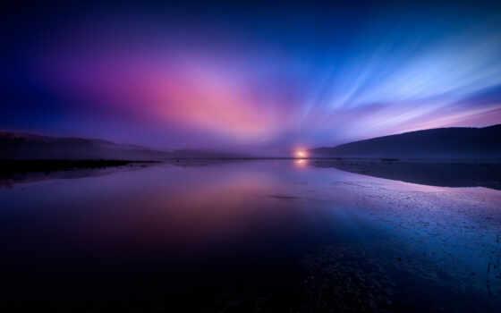 отражение, water, облако, небо, тело, ночь, закат, природа, leaf, зелёный