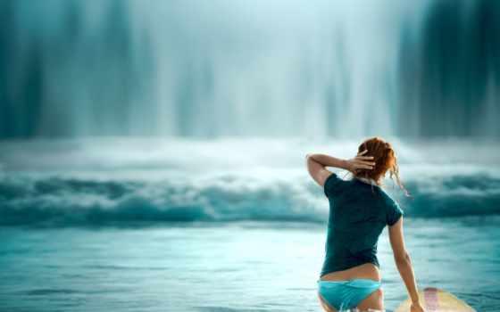 девушка, серфинг, прибой, майка, купальник