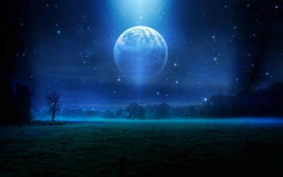 луна, mist, поля