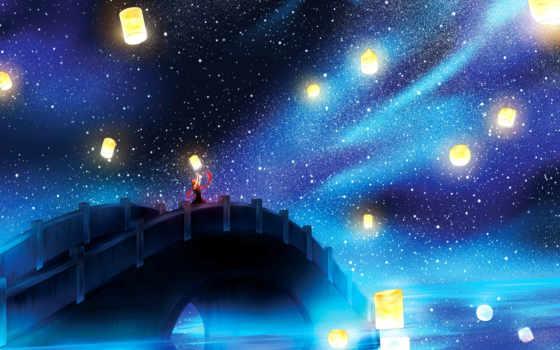 lanterns, плавающий, fantasy, lantern, ночь, бумага, небо, свет,