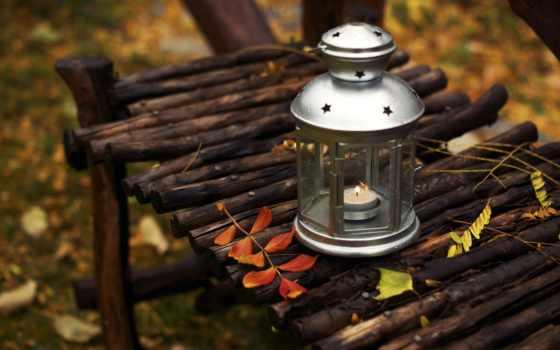 ikea, lantern, свеча, листва, скамейка, магазин, осень, flowerpot,