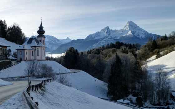 winter, church, горы, альпы, снег, франция, trees, online, bavarian, puzzle,