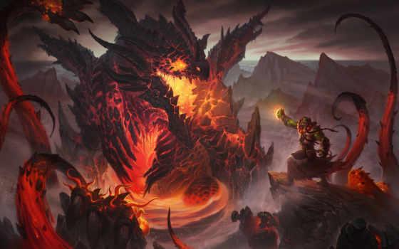 лава, орк, дракон, колдун, заклинатель, images, качестве, dragons, картинка, world,